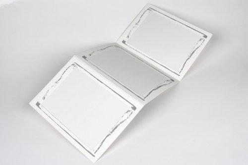 10 Stück weiße 3-er Leporello für Bildformat 13 x 18 cm, Foto - Portraitmappe, silber Ornament Innenausschnitt 11,5 x 16,5 cm, Passepartout, Leporello, Fotomappe