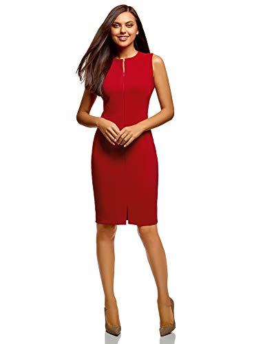 oodji Ultra Damen Enges Kleid mit Verdecktem Reißverschluss, Rot, DE 38 / EU 40 / M