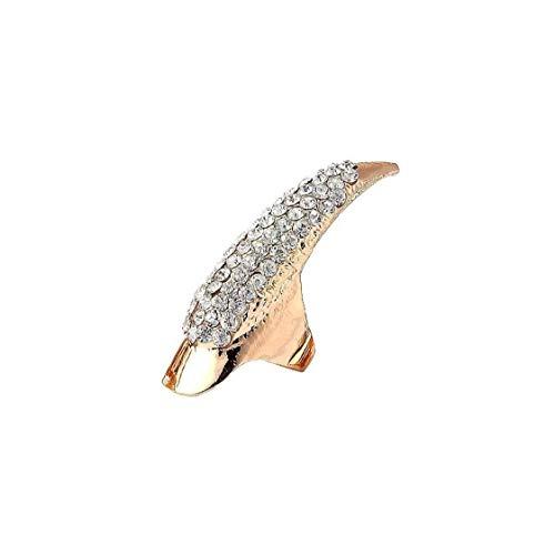 5 Stück/Set Falsche Nägel Punk Crystal Clear Paw-greifertalon-ring-knöchel Biegung Clawfinger Fingertip Goldring (groß)