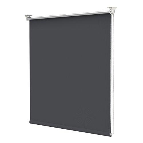 Rollo für Fenster Verdunkelungsrollo lichtundurchlässig Dunkel Grau 90 x 170 cm(BxH) Klemmfix ohne Bohren Hitzeschutz Thermorollo
