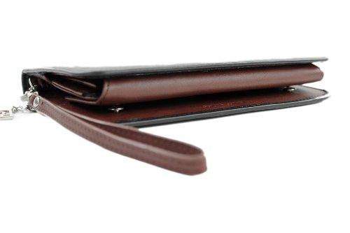 ital. Damen Portemonnaie Geldbörse Geldbeutel Geldsack Portmonee Geld Leder X685805 Schwarz/Braun