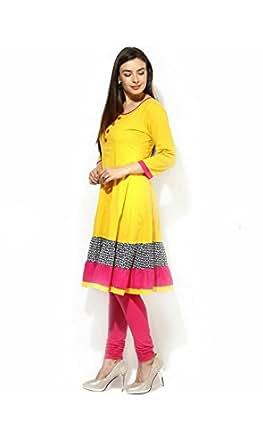 AnjuShree Choice Women's Yeloow cotton Anarkali Kurta Kurti (ASC034YLOOW_L_Yellow_Large)