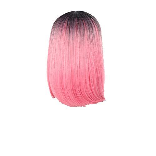 FOTBIMK Peluca larga ondulada color negro y rosa