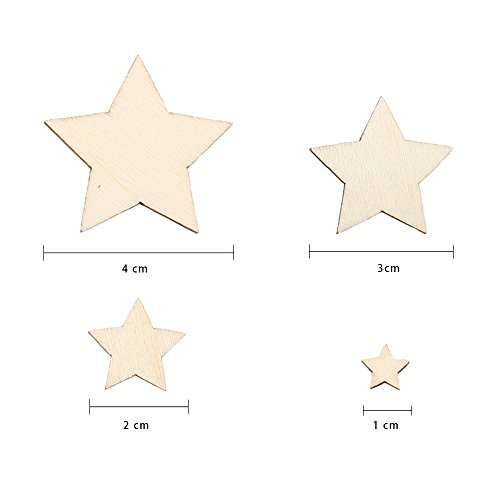 ETSAMOR 200pcs Wooden Stars Embellishments for Craft Projects Home Wedding Party Decoration, Mixed Wood Stars Embellishments 10 mm 20 mm 30 mm 40 mm