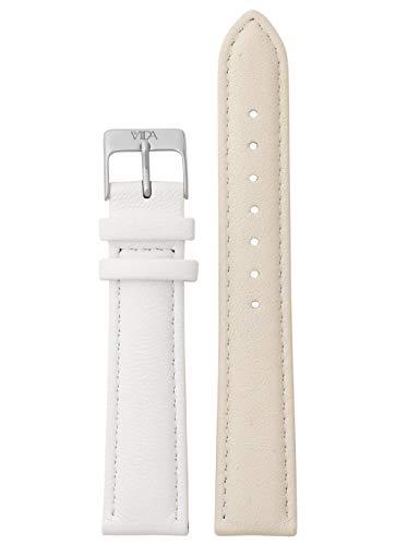 laVIIDA Uhrband LB-SVI2024S Ersatzband Uhrband Leder 18 mm Creme-Weiß-Silber