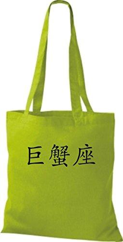 ShirtInStyle Stoffbeutel Chinesische Schriftzeichen Krebs Baumwolltasche Beutel, diverse Farbe lime green