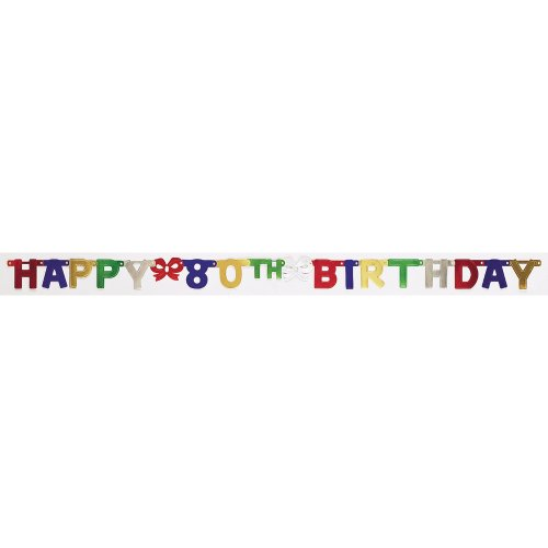 Creative Converting Party Dekoration Jointed Banner, Happy 80. Geburtstag, druckknopfstiel (Teen Party-einladungen)