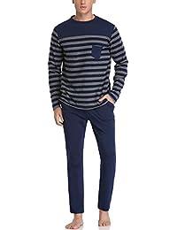 Hawiton Pijama largo de dos piezas para hombre, a rayas, algodón, ropa de noche, manga larga