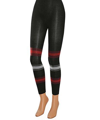 Vitasox 10732 Damen Leggings Baumwolle Leggins Baumwolleggings schwarz bunt geringelt knöchellang schwarz grau-rot L