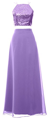 MACloth Women 2 Piece Long Bridesmaid Dress Sequin Prom Homecoming Formal Gown (Custom Size, Lavendel) (Lavendel Womens Bras)
