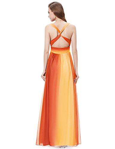 Ever Pretty Robe de soirée  longue sans manche avec bretelles en V-col 09735 Rouge