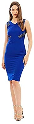 Karen Millen Womens Blue Lace Panel Pencil Dress Size 8 36