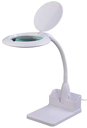 Komerci KML-9101LED-BRP LED Tisch-Lupenleuchte Lupenlampe 5 Dioptrien 125mm Glaslinse 14W mit Dimmer Lesehilfe [Energieklasse A+]