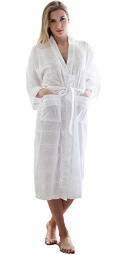 100% Baumwolle Morgenmantel 'Nakai' Kimono Wrap von Cottonreal - Weiße Baumwolle Robe