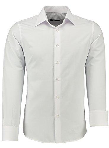 crom Herren-Hemd – Slim Fit – Bügelleicht – Für Business Freizeit Hochzeit weiß - L