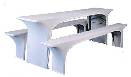 Expand Husse für Bierzeltgarnitur, Festzeltgarnitur Weiß - Bierbankhusse und Biertischhusse - 3er Set - 50cm - Stretch