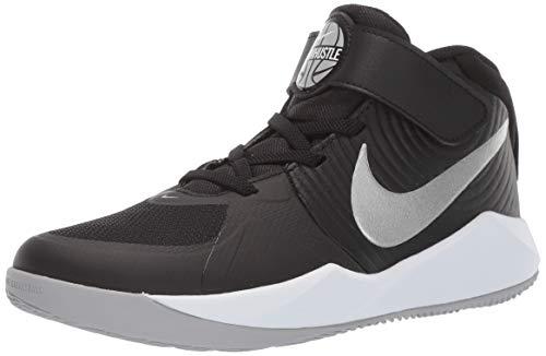 Nike Unisex-Kinder Team Hustle D 9 (ps) Basketballschuhe, Mehrfarbig (Black/Metallic Silver/Wolf Grey/White 000), 35 EU