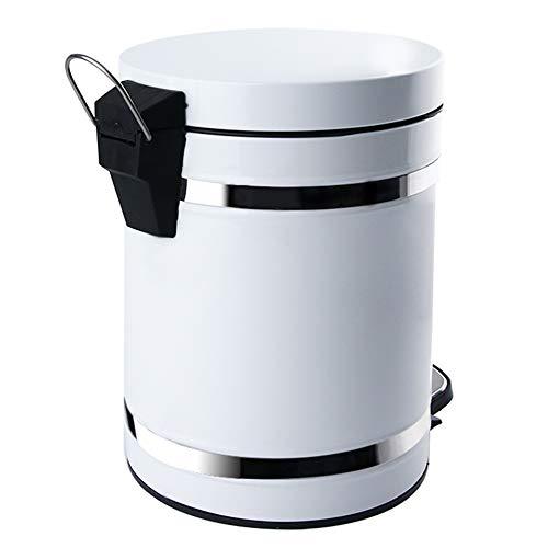 WDDLD Treteimer Mit Deckel Papierkorb Mute Liner Wohnzimmer Küche Runde Küche Wohnzimmer Badezimmer Schlafzimmer Papierkorb White-5L (Papierkorb Liner)