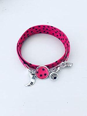 Bracelet Liberty fuschia, bijou Liberty, bracelet en tissu liberty, idée cadeau, bracelet parfum, bijou, bracelet étoile, bijou Liberty