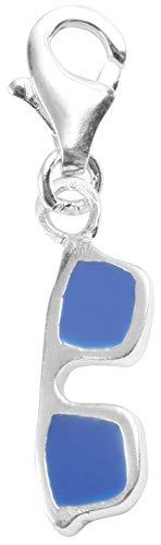 Akzent 925 Sterling Silber Charm, Motiv Sonnenbrille, Blau, Maße 3 mm x 10 mm