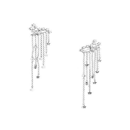 ODJOY-FAN Quaste Ohrring Strass Ohrhänger Schießen Lange Fallen Haken Baumeln Ohrringe Gold Silber Earrings (Silber,1 Pair)