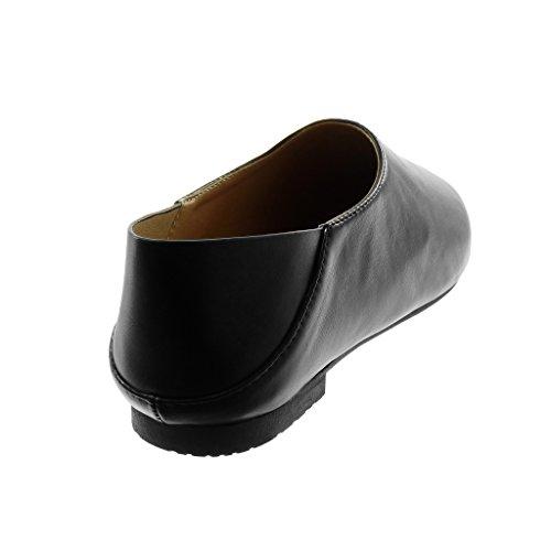Angkorly Scarpe Moda Mocassini Slip-On Flessibile Donna Tacco Tacco Piatto 1 cm Nero
