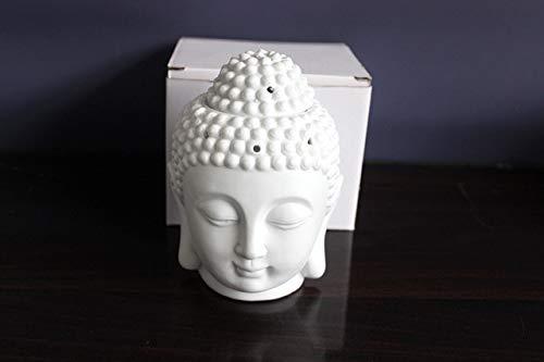 Keramik Buddha Statueölbrenner KerzeLampe Kopfräuchergefäß wohnkultur miniaturen Aroma Brenner btransparent weiß Porzellan räuchergefäß, WEIß -