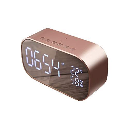 HIGGER LED Wecker mit FM Radio Drahtloser Bluetooth Lautsprecher Unterstützung Aux TF USB Musik Player Wireless für Büro Schlafzimmer - Zyklus-sound-lautsprecher