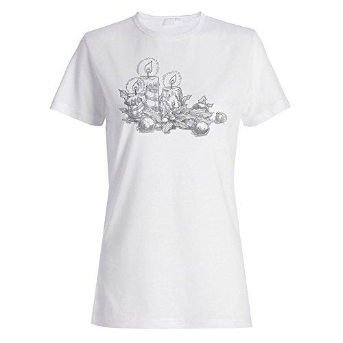 Vintage Weihnachtskerzen Damen T-shirt u493f