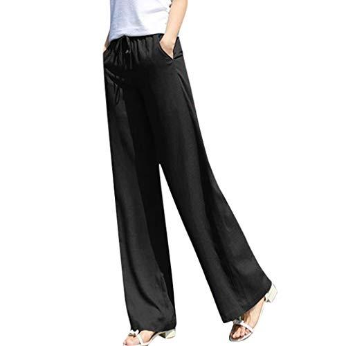 Wawer, Damen, lässig, lässig, Farbe reine Schnürung, breites Bein, Tasche, lange Hose, für den Alltag, bequem, Freizeithose, Yogahosen zu Hause, Sommer, Herbst XXL Schwarz Super Hip Flare Jeans