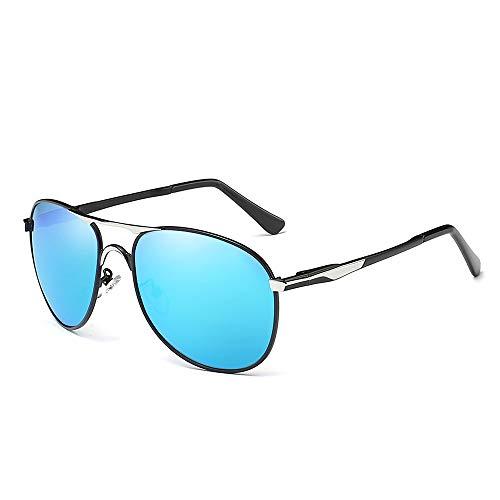 NUOLAN Herren Military Aviator Sonnenbrille Polarisierte 61mm Aluminium Magnesium Metallrahmen Ultraleicht (UK-8722BL)