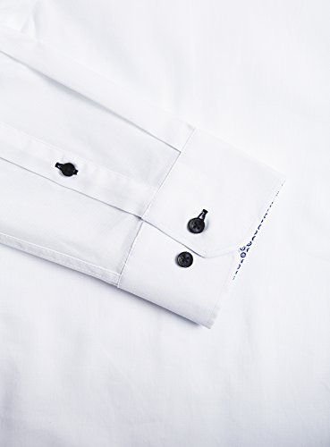 oodji Ultra Uomo Camicia Attillata con Finitura in Contrasto Bianco (1079B)