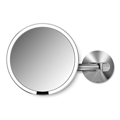 simplehuman Sensorspiegel 20 cm mit Wandhalterung, Edelstahl, Silber, 7,9 x 35 cm -