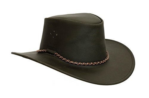 Kakadu Traders Lederhut Sydney extra geölt in schwarz mit geschwungener Krempe und Rundkordel  ...