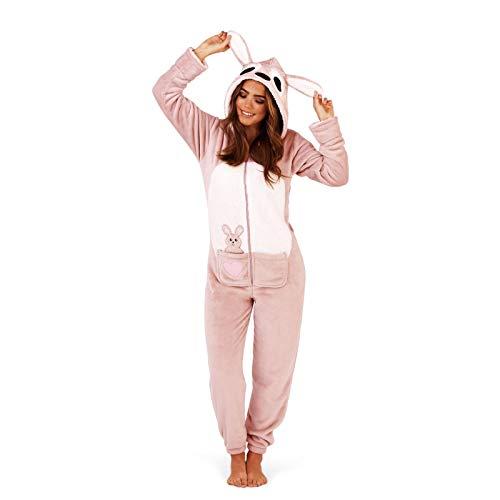 Unbekannt Damen Pyjama aus weichem Fleece, Tiermotiv Gr. Large 44-46, Kangaroo Onesie (Primark Kostüm Für Erwachsene)