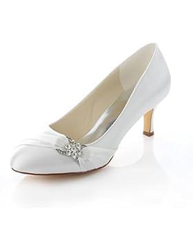 Emily Bridal scarpe da sposa Pompa a punta chiusa con tacco a forma di tacco a righe donna in raso con strass