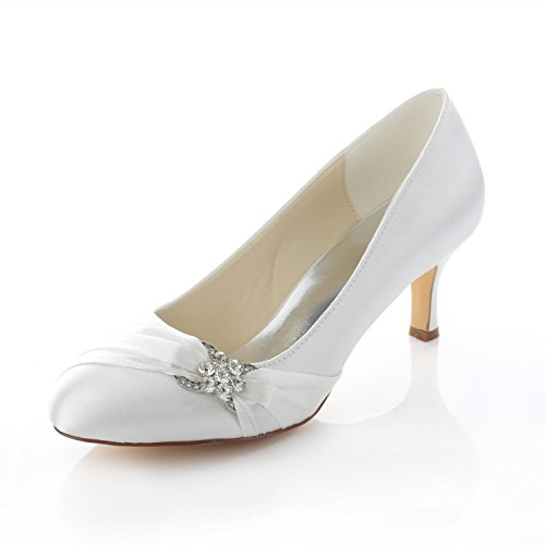 Emily Bridal Brautschuhe Women's Satin Stiletto Heel Closed Toe Pumps With Rhinestone (EU40, Elfenbein)