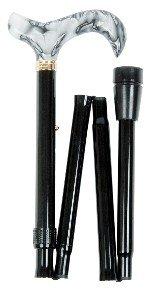 Acryl-stick Cane (zusammenklappbar verstellbar Derby schwarz Cane, marmorierte schwarz Acryl Griff)