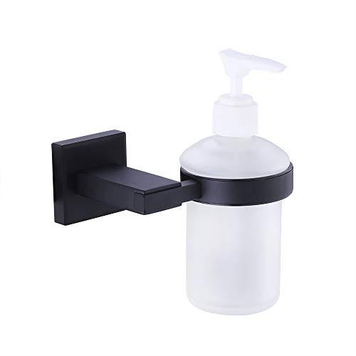 KES Bad-Serie PIAZZA Seifenspender aus Glas Edelstahl SUS304 Wandhalterung Soap Dispenser, Matt Schwarz, A2490-BK -