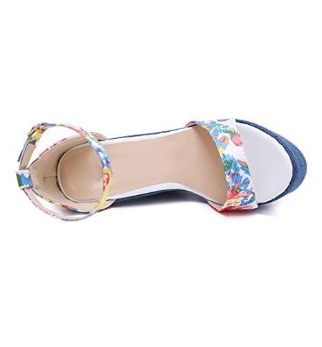 HupoopDamen Print Denim Sandal römische Sandalen Wedges High Heels Peep-Toe Plateauschuhe(Blau,40) - Denim Peep-toe