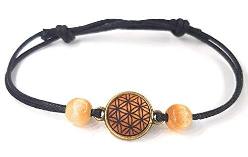 SOULSLICES Armband Blume des Lebens 1 mit Holzperlen - Strandschmuck - Festivalschmuck - Yogaschmuck - Armband - Armreif - Bracelet - Frauenarmband - Boho - Yoga - Ethno - Hippie
