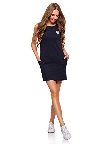 oodji Ultra Damen Gerades Pique-Kleid, Blau, DE 36 / EU 38 / S (Flip Flop Kleid)