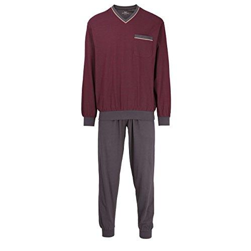 GÖTZBURG Herren Pyjama, langarm, Baumwolle, Single Jersey, rot, bedruckt mit Bündchen 56 (Zwei-knopf-single Herren)