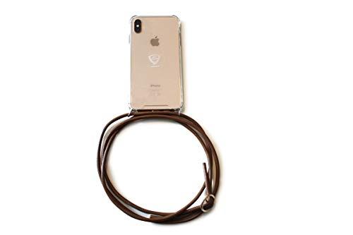 Sonia Originelli Handykette Passend für Samsung Modelle Leder Schnur Necklace Hülle Farbe Light Brown, Größe Samsung Galaxy S8