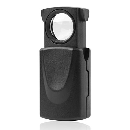 1pc Mini Pocket 30x21mm Schwarz Mikroskop LED Fold Eye Schmuck Lupe Pull Type Schmuck Lupe mit LED Licht Schmuck Lupe - Schwarz -