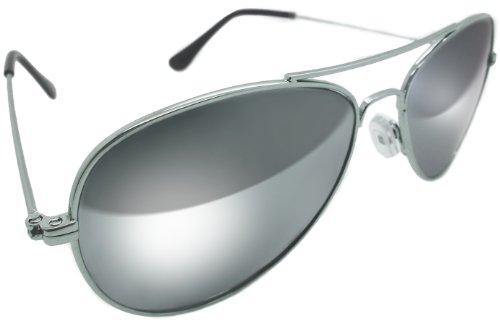 Glas Aviator 70er Jahre Stil Klassisch Vollspiegel Chrom Silber Sonnenbrille Echtglaslinse