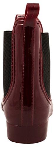 Elara Damen Gummistiefel | Bequeme Lack Stiefeletten | Chelsea Boots Rot