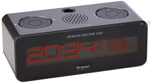 Oregon Scientific RRA320PNX radio reloj proyector, con radio FM, gran pantalla LCD con brillo ajustable...