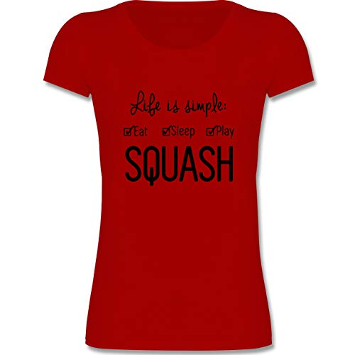 Sport Kind - Life is Simple Squash - 152-164 (12-14 Jahre) - Rot - F288K - Mädchen T-Shirt