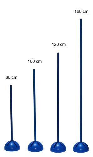 Slalomstange mit befüllbarem X-Standfuß, Stange 160 cm - Farbe: blau